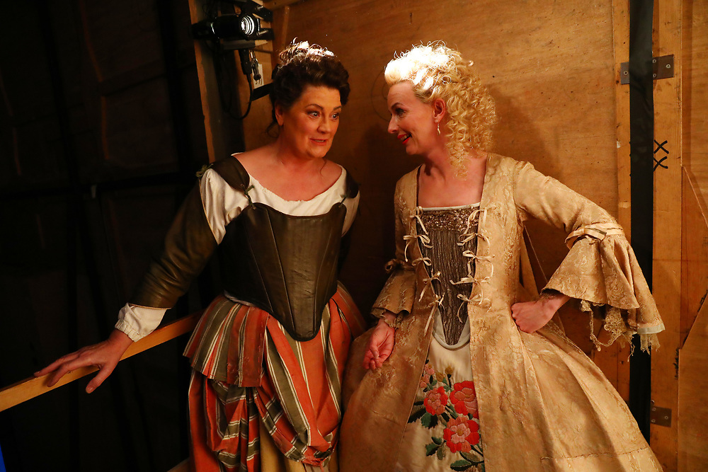 Performers Yvonne Howard (L) and Sarah Tynan speak backstage during a performance of the Barber of Seville at the English National Opera in London, Britain, 30 October 2017.  English National Opera (ENO) is an opera company based in London. It is one of the two principal opera companies in London. English National Opera traces its roots back to 1931 when Lilian Baylis established the Sadler's Wells Opera Company at the newly re-opened the Sadler's Wells Theatre. Baylis had been presenting opera concerts and theatre in London since 1898 and was passionate about providing audiences with the best theatre and opera at affordable prices. ENO became the first British opera company to tour the United States, and the first major foreign opera company to tour what was then the Soviet Union.EPA-EFE/NEIL HALL