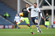 Brighton & Hove Albion centre forward Sam Baldock (9) and Preston North End defender Marnick Vermijl (2) battles for the ball during the EFL Sky Bet Championship match between Preston North End and Brighton and Hove Albion at Deepdale, Preston, England on 14 January 2017.