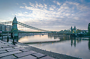Hammersmith, Greater London, UK., 18th October 2020, general view, Hammersmith Bridge, Furnivall Sculling Club, boating on the foreshore, COVID-19,  [Mandatory Credit: Pete Spurrier/Intersport Images],
