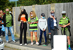 Forest Green Rovers fans wait to have their temperature checked before entering the New Lawn Stadium - Mandatory by-line: Nizaam Jones/JMP - 19/09/2020 - FOOTBALL - New Lawn Stadium - Nailsworth, England - Forest Green Rovers v Bradford City - Sky Bet League Two