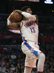 October 19, 2018 - Los Angeles, California, U.S - Paul George #13 of the Oklahoma Thunder rebounds a ball during their NBA game with the Los Angeles Clippers  on Friday October 19, 2018 at the Staples Center in Los Angeles, California. Clippers defeat Thunder, 108-92. (Credit Image: © Prensa Internacional via ZUMA Wire)