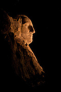The profile view of George Washington at Mount Rushmore National Monument.