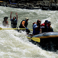 Whitewater rafting the Lunch Counter Rapids on the Snake River near Jackson, WY.