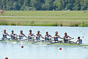 Eton Dorney, Windsor, Great Britain,..2012 London Olympic Regatta, Dorney Lake. Eton Rowing Centre, Berkshire[ Rowing]...Description;  GBR M8+, BOW. Ales PARTRIDGE, James FOAD, ? RANSLEY, Rick EGINGTON, Mo SBIHI, Greg SEARLE, Matt LANGRIDE, Constantine LOULOUDIS and Cox Phelan HILL .move away from the start in their heat of the men' eights.  Dorney Lake. 12:20:17  Saturday  28/07/2012. [Mandatory Credit: Peter Spurrier/Intersport Images]. July/Aug