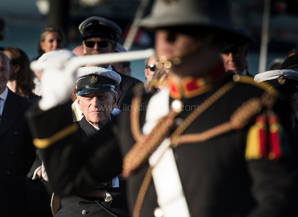 """Image licensed to Lloyd Images<br /> The Royal Yacht Squadron Fleet Review. Cowes. Isle of Wight. UK. As part of 200th anniversary of the Royal Yacht Squadron. The Duke of Edinburgh watches """"Beat The Retreat"""".<br />  Credit - Lloyd Images"""
