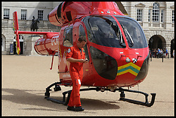 August 14, 2017 - London, London, United Kingdom - Image ©Licensed to i-Images Picture Agency. 14/08/2017. London, United Kingdom. Air ambulance in Horse Guard Parade. An air ambulance lands in Horse Guard Parade in Whitehall, while attending an emergency incident in Westminster. Picture by Dinendra Haria / i-Images (Credit Image: © Dinendra Haria/i-Images via ZUMA Press)