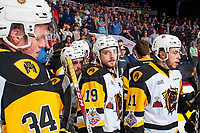 REGINA, SK - MAY 25: The Hamilton Bulldogs react to the loss against the Regina Pats at the Brandt Centre on May 25, 2018 in Regina, Canada. (Photo by Marissa Baecker/CHL Images)