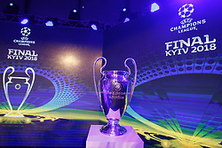December 12, 2017 - Kiev, Ukraine - The UEFA Champions League trophy is pictured during the presentation of the logo of the 2018 Champions League final soccer match in Kiev, Ukraine, 12 December, 2017.  The UEFA Champions League final will be played at the Olimpiyskiy stadium on 26 May 2018 in Kiev. (Credit Image: © Str/NurPhoto via ZUMA Press)