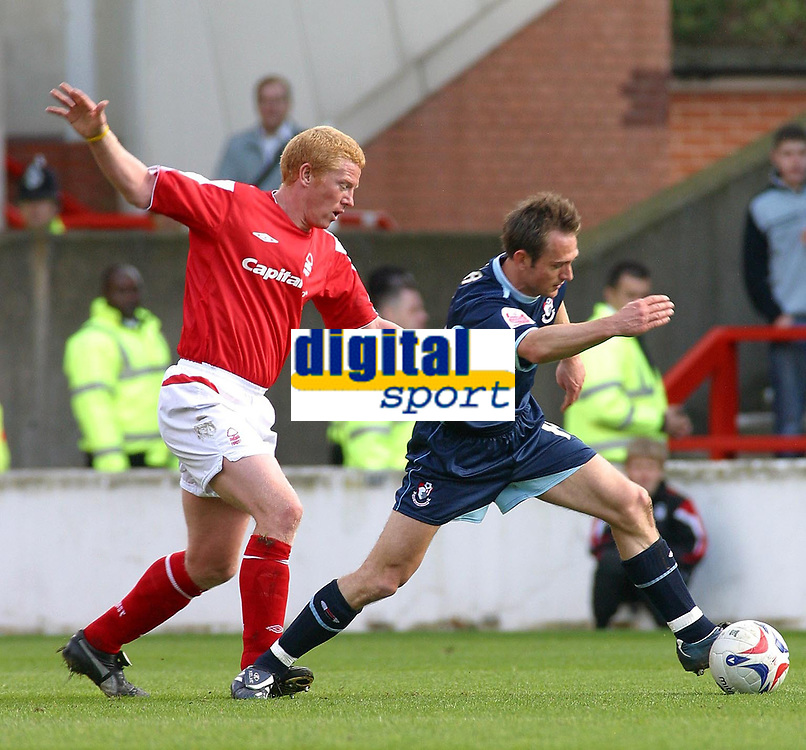Photo: Dave Linney.<br />Nottingham Forest v Bournemouth. Coca Cola League 1. 29/04/2006.The chase is on for Forest'sGary Holt (L)  as he tries to catchJames Hayter