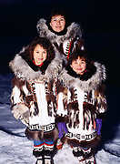 The Rexford family wearing Eskimo parkays made by Nora Rexford, Arctic Ocean Coast, Barrow, Alaska.<br /> Note:  Use of this photo requires an extra licensing fee to be paid to the Rexford family. Please contact Fred Hirschmann for information.
