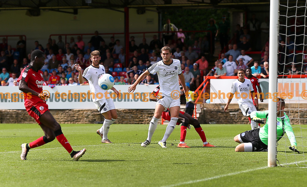 Crawley's Enzio Boldewijn comes close to scoring during the Friendly match between Aldershot Town and Crawley Town at the EBB Stadium in Aldershot. July 30, 2016.<br /> James Boardman / Telephoto Images<br /> +44 7967 642437