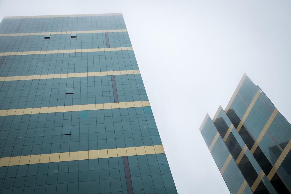 LIMA, PERU - CIRCA APRIL 2014: Modern skyscrapers in the Miraflores area of Lima, Peru.