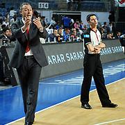 Pinar Karsiyaka's coach Hakan DEMIR (L) during their Turkish Basketball Legague Play-Off qualifying first match Efes Pilsen between Pinar Karsiyaka at the Sinan Erdem Arena in Istanbul Turkey on Wednesday 11 May 2011. Photo by TURKPIX