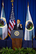 U.S. President Barack Obama addresses the leaders of the 565 federally recognized Native American tribes at the 2011 White House Tribal Nations Conference  which he hosted at the Department of the Interior in Washington, DC on December 2nd, 2011.