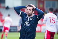 Morecambe midfielder Aaron Wildig (10) couldn't convert his chance and is shocked his shot didn't going in during the EFL Sky Bet League 2 match between Stevenage and Morecambe at the Lamex Stadium, Stevenage, England on 6 February 2021.
