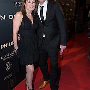 NLD/Amsterdam/20140311 - Modeshow Addy van den Krommenacker 2014, Rob Geus en partner Suzanne Ozek