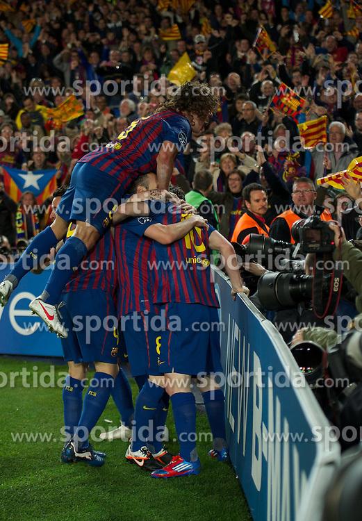 24.04.2012, Stadion Camp Nou, Barcelona, ESP, UEFA CL, Halblfinal-Rueckspiel, FC Barcelona (ESP) vs FC Chelsea (ENG), im Bild FC Barcelona's Andres Iniesta celebrates scoring the second goal against Chelsea during the UEFA Championsleague Halffinal 2st Leg Match, between FC Barcelona (ESP) and FC Chelsea (ENG), at the Camp Nou Stadium, Barcelona, Spain on 2012/04/24. EXPA Pictures © 2012, PhotoCredit: EXPA/ Propagandaphoto/ David Rawcliff..***** ATTENTION - OUT OF ENG, GBR, UK *****