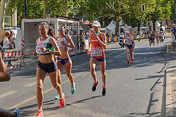 Andrea Deelstra op de marathon bij het EK atletiek in Berlijn op 12-8-2018