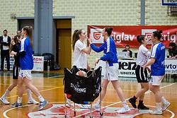 Players of ZKK Triglav Kranj during basketball match between ZKK Triglav Kranj and ZKD Maribor in Round #1 of 1. Slovenian Woman basketball league, on February 20, 2018 in ŠD Planina, Kranj, Slovenia. Photo by Ziga Zupan / Sportida
