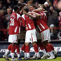 Photo: Olly Greenwood.<br />Charlton Athletic v Fulham. The Barclays Premiership. 27/12/2006. Charlton's Darren Bent celebrates scoring with his team mates