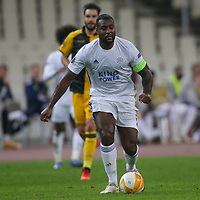 ATHENS, GREECE - OCTOBER 29: Wes Morganof Leicester City during the UEFA Europa League Group G stage match between AEK Athens and Leicester City at Athens Olympic Stadium on October 29, 2020 in Athens, Greece. (Photo by MB Media)