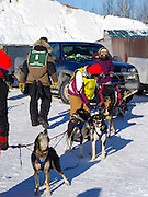 Volunteers help Matt Groth (#6) of Grand Marais, MN, prepare for his ten-dog class sled race on Sunday, 2 Feb 2014. Scenes from the Apostle Islands Sled Dog Race, hosted by the Bayfield Chamber of Commerce, near Bayfield, WI