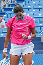 August 15, 2018 - Mason, Ohio, USA - Garbine Muguruza (ESP) reacts after winning a point during Wednesday's second round of the Western and Southern Open at the Lindner Family Tennis Center, Mason, Oh. (Credit Image: © Scott Stuart via ZUMA Wire)
