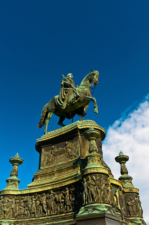 The King Johann Monument in front of the Semper Opera House, Theaterplatz, Dresden, Saxony, Germany