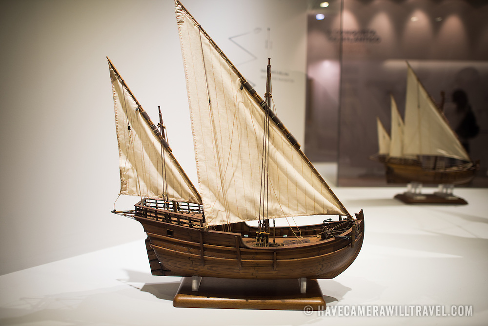 """A model of a 2 Masts Lateen Rigged Caravel. Known as """"disovery caravel,"""" it was the main type of ship used in Portuguese maritime exploration from 1440 until the end of the 15th century. The Museu de Marinha (Maritime Museum of Navy Museum) focuses on Portuguese maritime history. It features exhibits on Portugal's Age of Discovery, the Portuguese Navy, commercial and recreational shipping, and, in a large annex, barges and seaplanes. Located in the Belem neighborhood of Lisbon, it occupies, in part, one wing of the Jerónimos Monastery. Its entrance is through a chapel that Henry the Navigator had built as the place where departing voyagers took mass before setting sail. The museum has occupied its present space since 1963."""