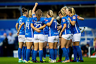 Bham City women huddle during the FA Women's Super League match between Birmingham City Women and Brighton and Hove Albion Women at St Andrews, Birmingham United Kingdom on 12 September 2021.