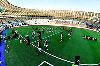 RIO DE JANEIRO, BRAZIL - JANUARY 30: Team Players of Palmeiras and Santos enter to the field ,during the final of Copa CONMEBOL Libertadores 2020 between SE Palmeiras and Santos FC at Maracana Stadium on January 30, 2021 in Rio de Janeiro, Brazil. (Photo by MB Media/BPA)