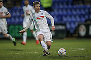 Jay Harris (Tranmere Rovers) passes the ball through the Southport defence during the Vanarama National League match between Tranmere Rovers and Southport at Prenton Park, Birkenhead, England on 6 February 2016. Photo by Mark P Doherty.