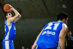 Matic Grušovnik of Zlatorog Lasko during basketball match between GGD Sencur and Zlatorog Lasko in First Round of 1. SKL 2020/21, on October 31, 2020 in Sport hall Sencur, Sencur, Slovenia. Photo by Grega Valancic / Sportida