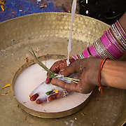 A pandit let milk run on the hand of the bride. Traditional wedding in the Himalaya.