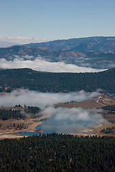 """""""Prosser Reservoir Aerial 2"""" - This photograph of a foggy Prosser Reservoir was shot from an amphibious seaplane with the door removed."""