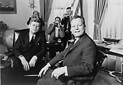 President John F Kennedy and  Willy Brandt, Mayor of Berlin, at the White House, 13 March 1961. Photographer Marion S.Trikosko.