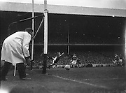 All Ireland Senior Football Championship Final, Kerry v Down, 25.09.1960, 09.25.1960, 25th September 1960, Down 2-10 Kerry 0-8,.Down goalie E McKay fails to reach low fast shot by Kerry full forward John Downling but the ball went wide, ..Referee J Dowling (Offaly),.Captain K Mussen,.
