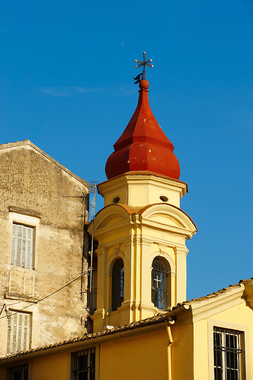 Church Spire Of a Greek Orthodox Church, Corfu Old Town, Greek Ionian Islands .<br /> <br /> If you prefer to buy from our ALAMY PHOTO LIBRARY  Collection visit : https://www.alamy.com/portfolio/paul-williams-funkystock/corfugreece.html <br /> <br /> Visit our GREECE PHOTO COLLECTIONS for more photos to download or buy as wall art prints https://funkystock.photoshelter.com/gallery-collection/Pictures-Images-of-Greece-Photos-of-Greek-Historic-Landmark-Sites/C0000w6e8OkknEb8