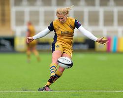 Amber Reed (capt) of Bristol Ladies kicks a conversion - Rogan Thomson/JMP - 08/10/2016 - RUGBY UNION - Kingston Park - Newcastle, England - Darlington Mowden Park Sharks v Bristol Ladies Rugby - RFU Women's Premiership.