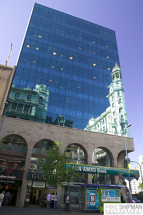 South America, Uruguay, Canelones, Montevideo, downtown, reflections of old in new on Avenida 18 de Julio, the main street.
