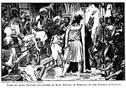 Vasco da Gama delivers the letter of King Manuel of Portugal to the Samorim of Calicut