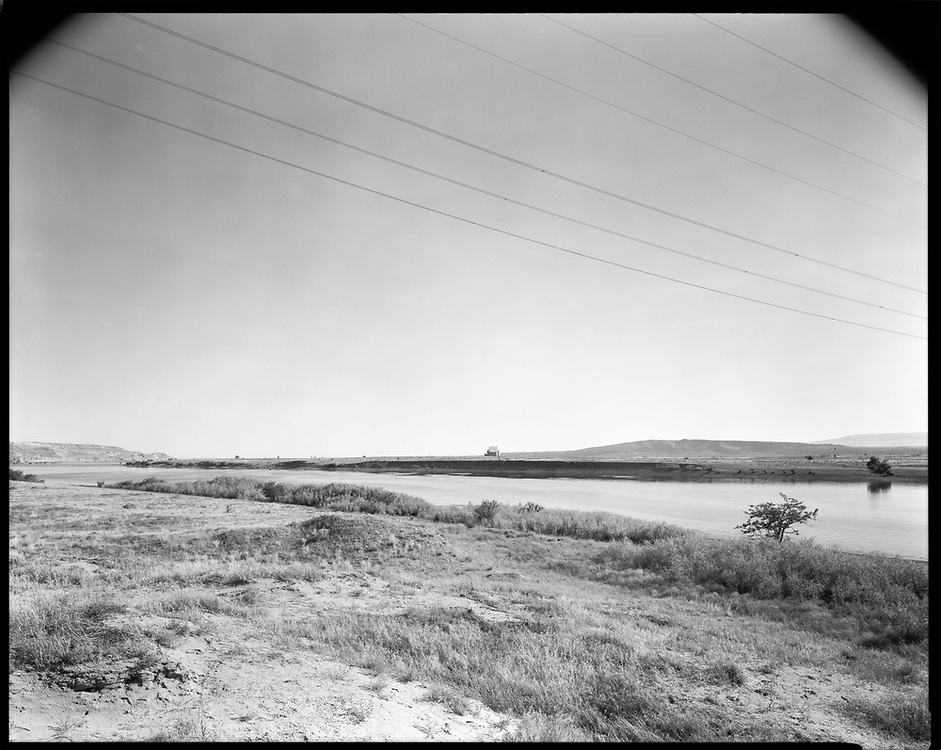 Distant view of the F Reactor plutonium production complex on the Hanford Site from Wayáwna. Ancestral land of the Wanapum and Walla Walla.