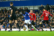 Oumar Niasse of Everton © in action.  Premier league match, Everton v Manchester Utd at Goodison Park in Liverpool, Merseyside on New Years Day, Monday 1st January 2018.<br /> pic by Chris Stading, Andrew Orchard sports photography.