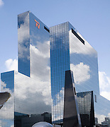 Clouds reflected by surface of Nationale Nederlanden office building in Rotterdam, Netherlands