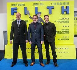 Irvine Welsh, director Jon S Baird and James McAvoy, <br /> Edinburgh hosts the World Premiere of Filth at the Omni cinema.<br /> ©Michael Schofield.