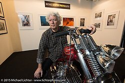 Biker Billy (Alfredo Cella) on his custom Italian Choppers Shovelhead in the Michael Lichter Photography booth he was manning during EICMA, the largest international motorcycle exhibition in the world. Milan, Italy. November 21, 2015.  Photography ©2015 Michael Lichter.