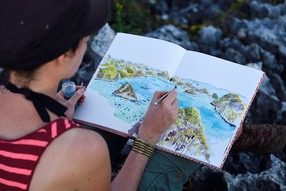 """Artist Stépanie Ledoux painting the Karst landscapes in Waiag archipelago, Raja Ampat, Western Papua, Indonesian controlled New Guinea, on the Science et Images """"Expedition Papua, in the footsteps of Wallace"""", by Iris Foundation"""