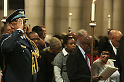 December 11, 2013-New York, NY: (L-R) Consul General George Munyemangene and Colonel Mongezi Kweta attend the Nelson Mandela Commemorative Memorial service held at the Riverside Church on December 11, 2013 in New York City. Nelson Rolihlahla Mandela was inaugurated as the first black President of a democratic South Africa on May 10, 1994 bringing democracy and ending the oppressive rule of apartheid . (Terrence Jennings)