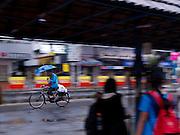 A cyclist holding umbrella during the monsoon season, Cochin, Kerala, India