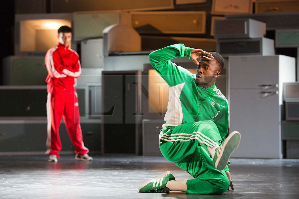 """© Licensed to London News Pictures. 17/02/2014. London, England. The international street dance show """"Blaze"""" returns to the Peacock Theatre after its world premiere three years ago with a cast of 16 dancers. Running from 18 Feb - 8 Mar 2014. Breakdancers; Jeffery """"Machine"""" McCann; Virgil """"Sky Chief"""" Def; Sunni Brummit and Tony Thrills. Photo credit: Bettina Strenske/LNP"""